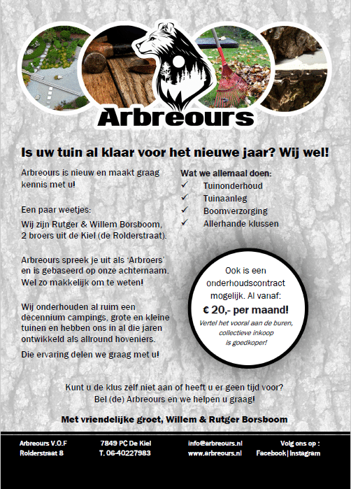 Flyer az Arbreours hoveniers Drenthe